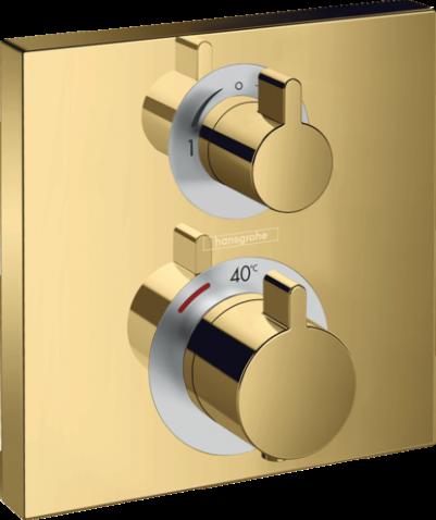 Hansgrohe 15714990 Ecostat Square Douchemengkraan thermostaat afbouwdeel 2 functies Polished Gold Optic